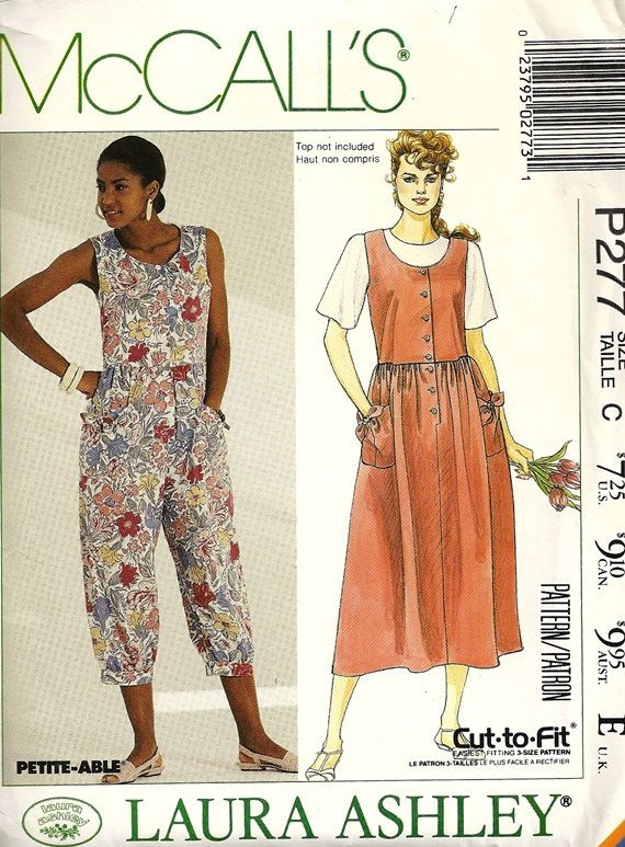 mccall 39 s p277 misses jumpsuit sundress 90s laura ashley sewing pattern size 10 12 14 uncut. Black Bedroom Furniture Sets. Home Design Ideas