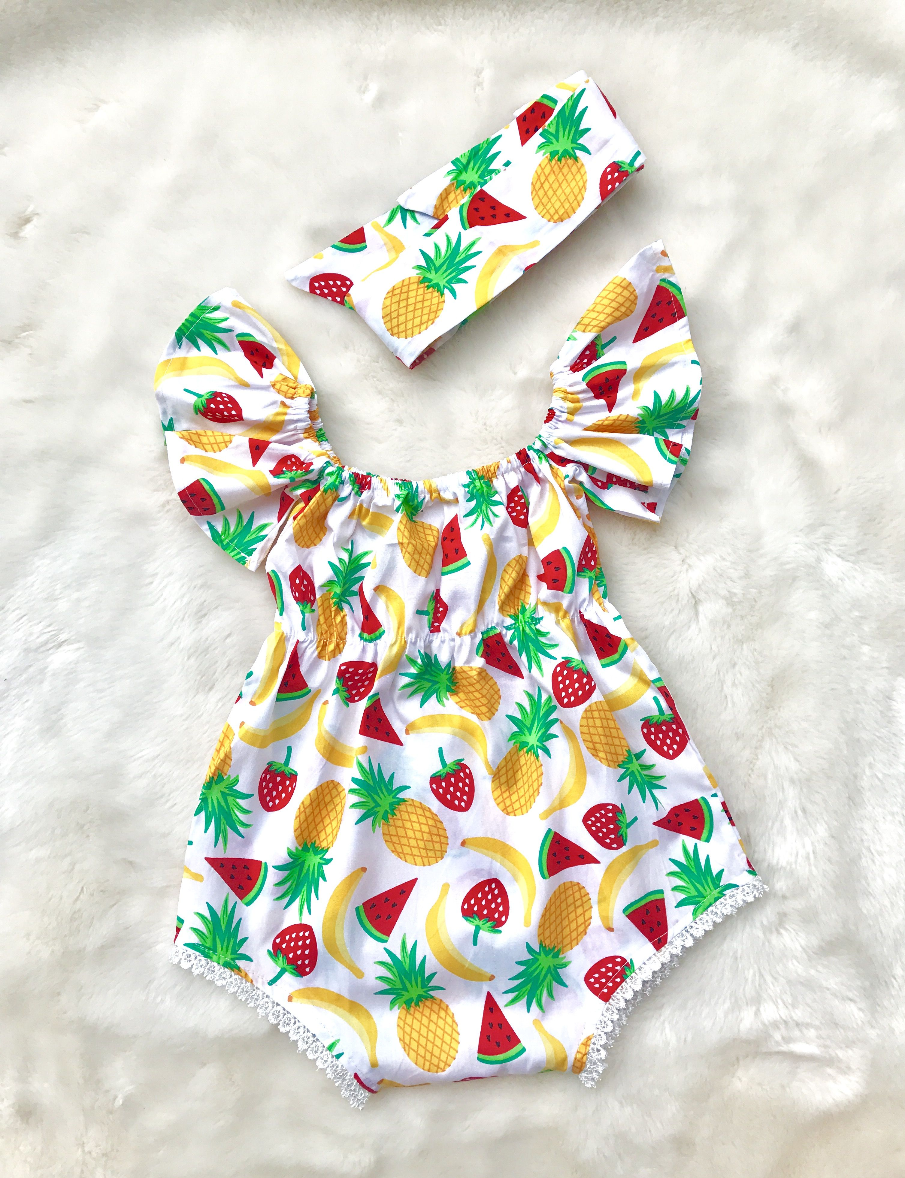 Pineapple Good Vibes Baby Boys Girls Jumpsuit Overall Romper Bodysuit Summer Clothes White