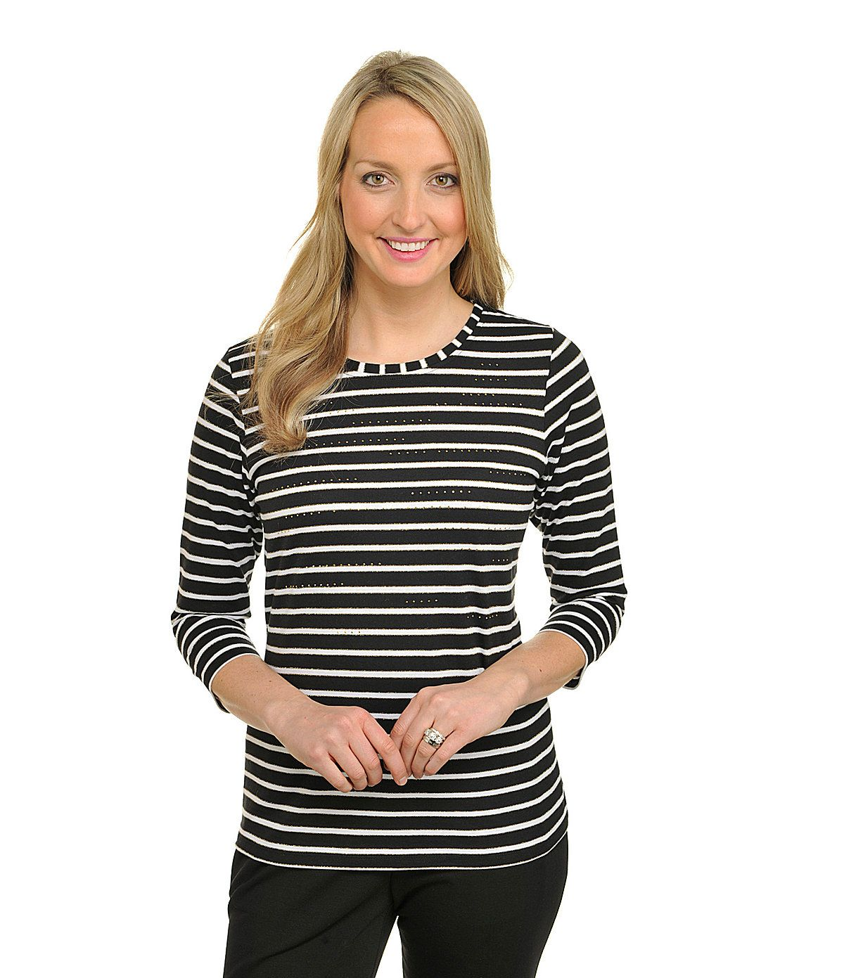 Allison Daley Petite Embellished Striped Knit Top | Dillards.com