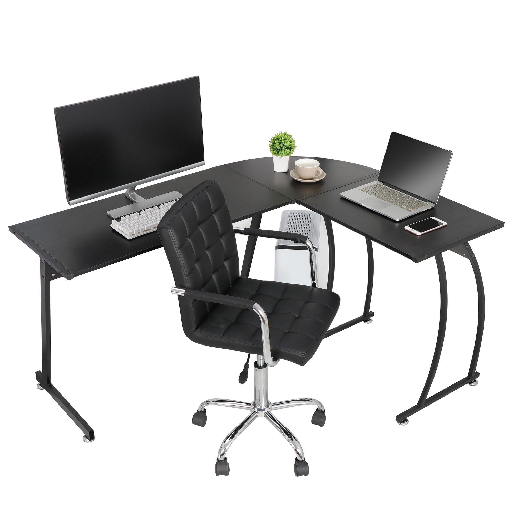 Modern L Shaped Laptop Corner Desk Computer Desk Table Home Office Writing Workstation Black Walmart Com In 2020 L Shaped Corner Desk Pc Desk Home Desk