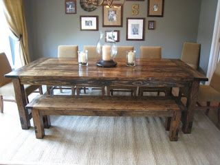 Country Style Dining Table And Bench Made From Pallets   ---   #pallets   #palletproject