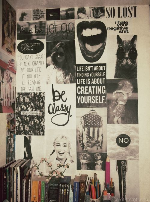 dream wall filled with all types of photos and quotes LOVE