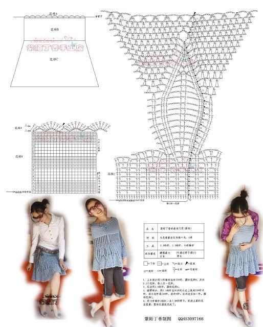 Patrones para Crochet: Patron 3 en 1: Falda, Vestido, Poncho ...