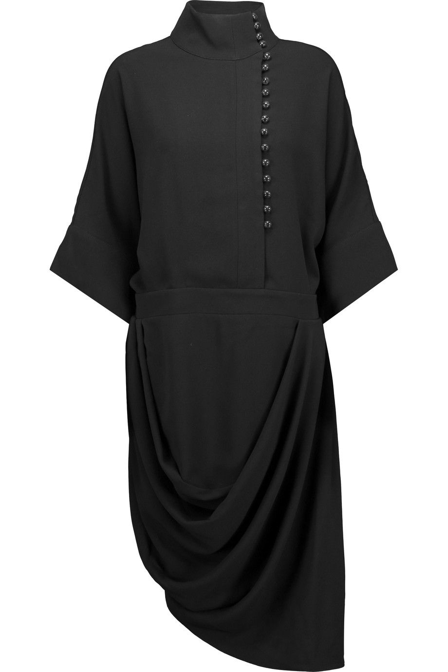 Draped Asymmetric Crepe Dress Designer Clothes Sale Crepe Dress Discount Designer Clothes