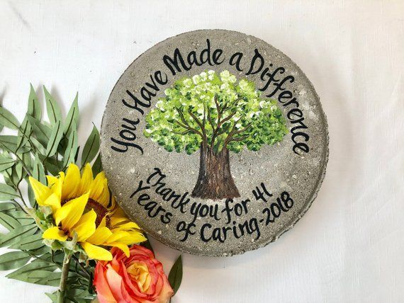 Retirement Gift, Years of Service, Hand Painted Garden Stone, Retirement Gifts, Teacher Gift, Gift from Student, Gift for Teacher, Ideas #employeeappreciationideas EMPLOYEE APPRECIATION PERSONALIZED RETIREMENT & EMPLOYEE APPRECIATION and RECOGNITION #employee appreciation #employeerecognitiongifts #employeerecognitiongifts #employeeappreciationgifts #retirementgifts #retirementgardenstones #personalizedemployeegifts #gardenstones #weddinggardenstones #pinterest #samdesigns #instagram #nursegifts #employeeappreciationideas