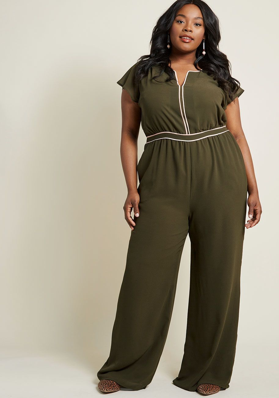 4076f13b9644 Communicating your je ne sais quoi through style is an easy feat with this  olive green jumpsuit in the equation! From our ModCloth namesake label
