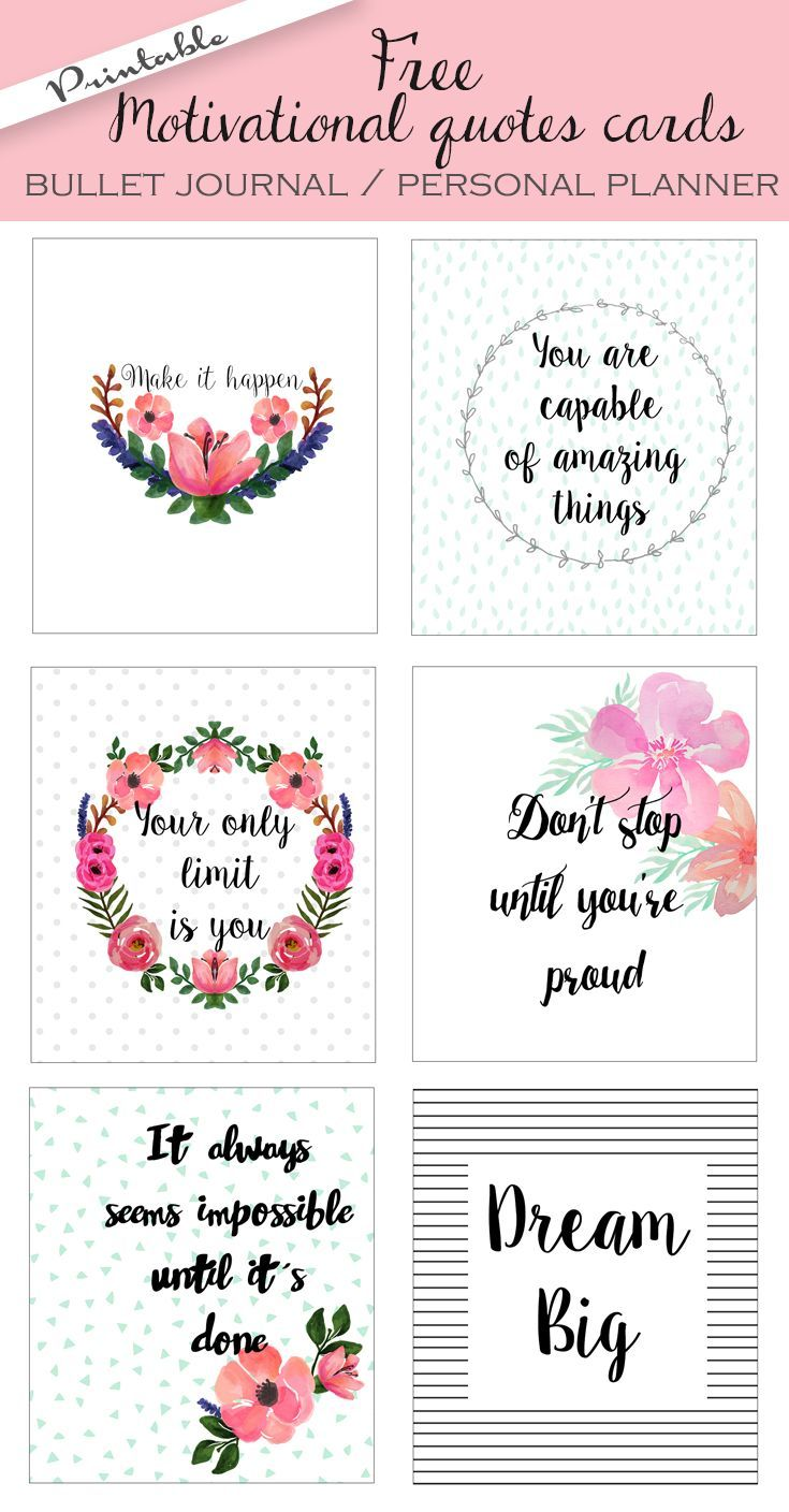 Free Printable Bullet Journal Cards. Personal Planner
