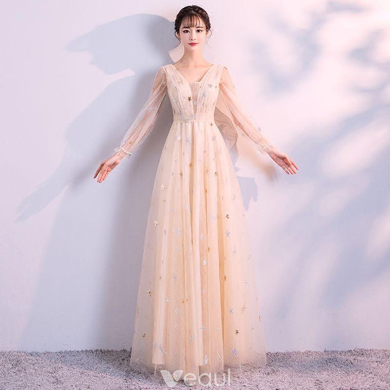 66829f72f Elegantes Champán Vestidos de noche 2018 Empire V-Cuello Manga Larga Perla  Glitter Estrella Largos Ruffle Sin Espalda Vestidos Formales