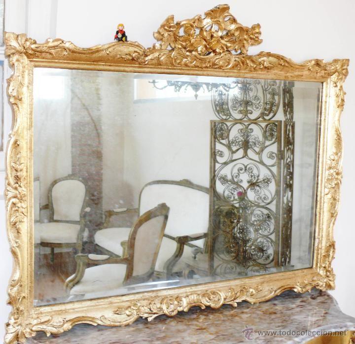 BESTIAL GRAN ESPEJO MADERA DORADO MUY ANTIGUO EN PAN DE ORO XVIII o ...