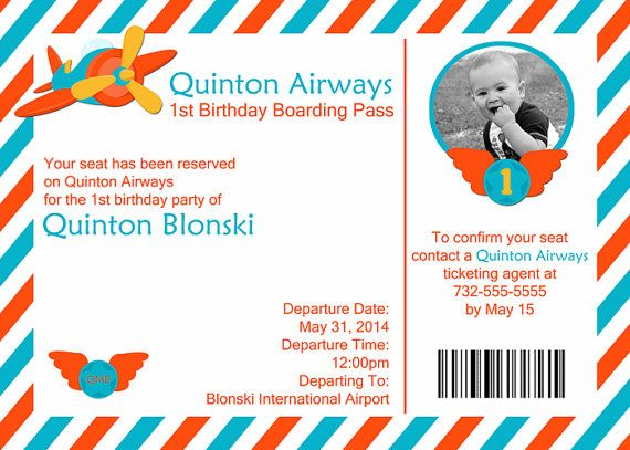 Air plane ticket printable photo birthday invitation, 5x7, do it - plane ticket template