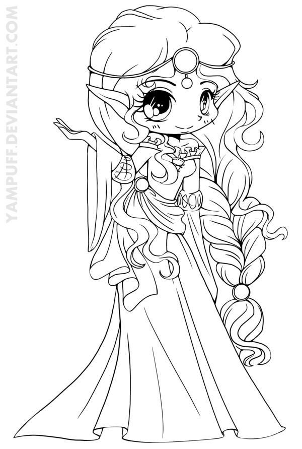 Scottish Elf Princess Lineart by *YamPuff on deviantART