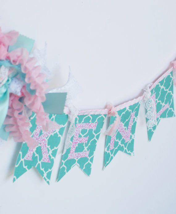 SHABBY CHIC BANNER Bunting in Aqua, Seafoam Green, Pink, + White. Baby Name Fabric Banner. Children's Name Banner. 1st Birthday photo shoot.