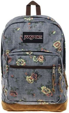 Denim And Floral Jansport Backpack Bags Shoulder Bag Women