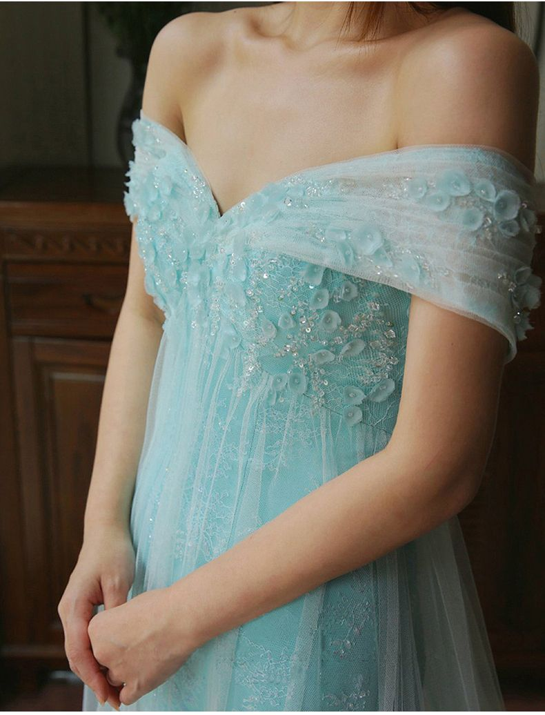 F384 Off the Shoulder Short Sleeve Evening Gowns, Chapel Train Long Tulle Light Blue Prom Dresses, Romantic Mermaid Evening Dresses from Fashion Lady Dress