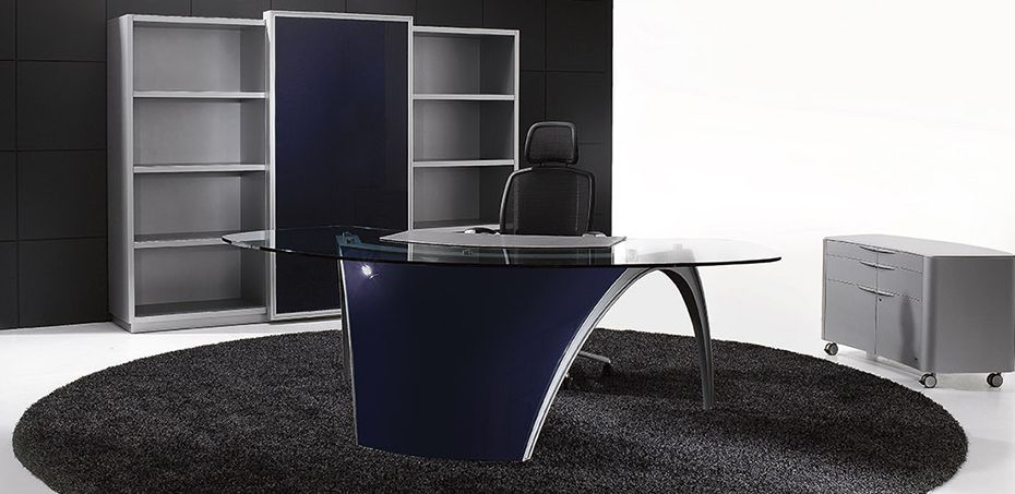 Luna Design Office Desk By Uffix, Design Pininfarina: Monolithic Asymmetric  Arch Structure Is Enhanced By The Elegance Of The Tempered Crystal Surface.