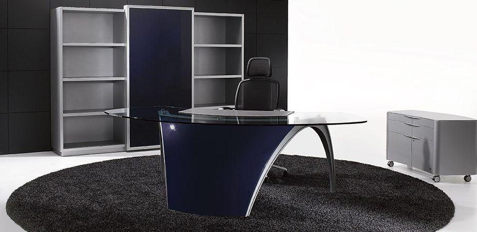 Glass Top Design Desk Luna By Uffix, Designer Pininfarina