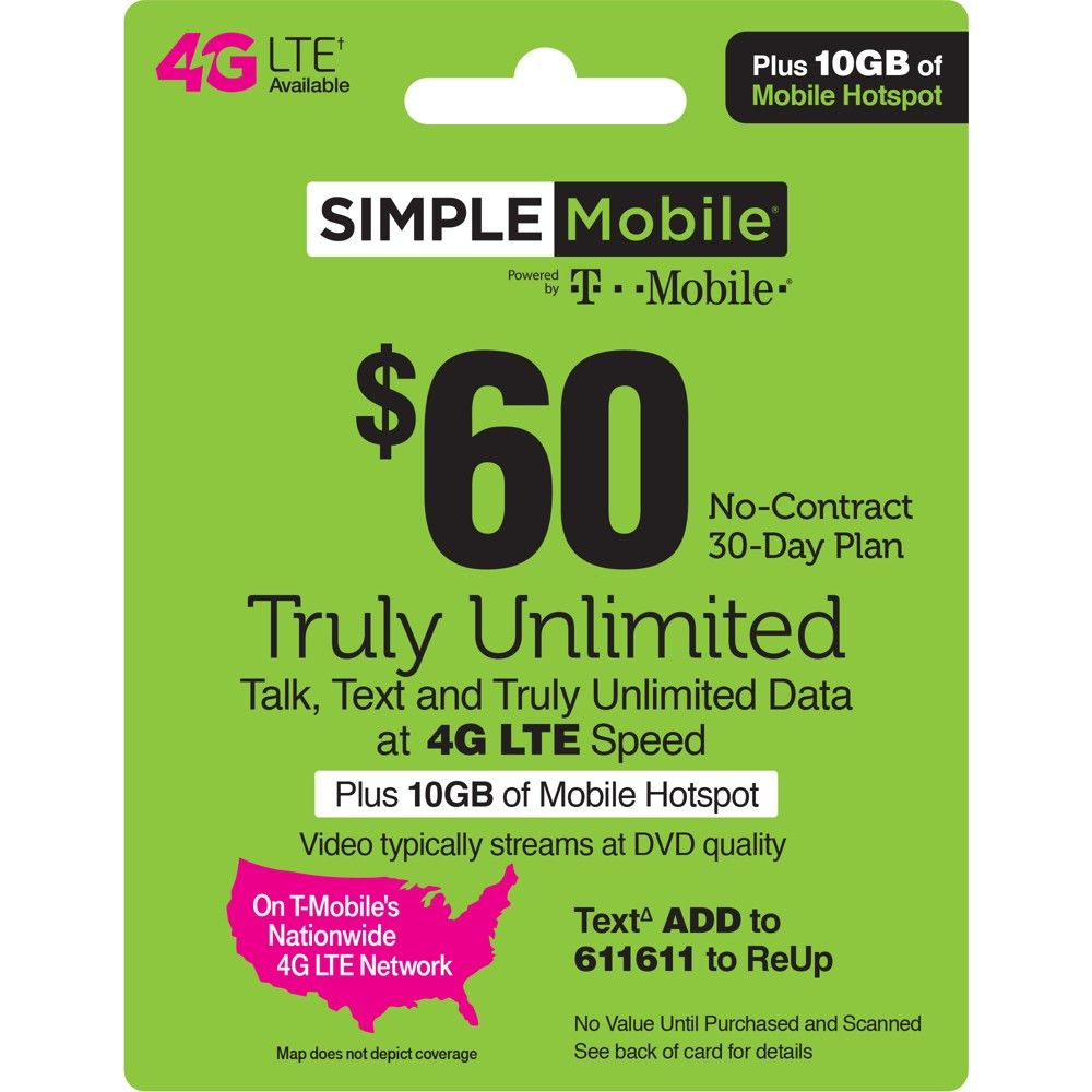 Simple Mobile 60 Unlimited Talk Text Data Prepaid Card Email