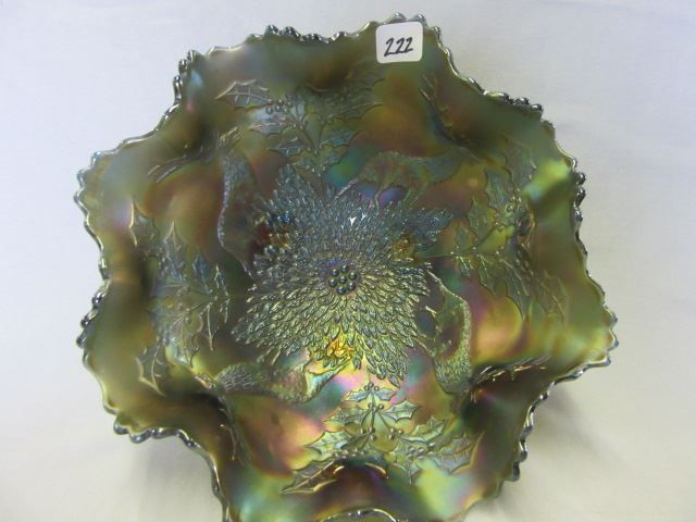"Lot # : 222 - Fenton 10"" blue Stag & Holly footed ruffled"
