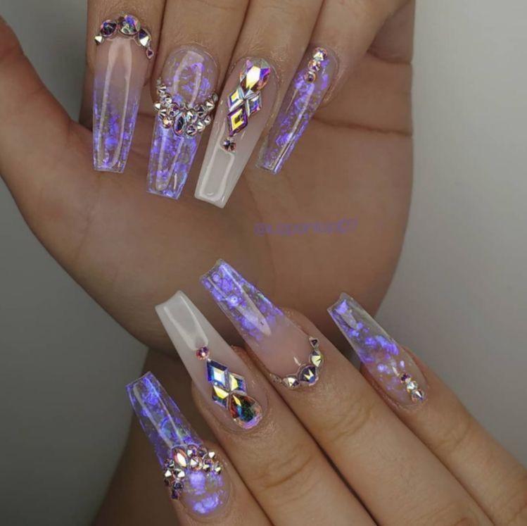 Nail Acrylic Clear Purple Naildesigns Nailsonfleek Nailprodigy Purple Acrylic Nails Gem Nails Crystal Nails