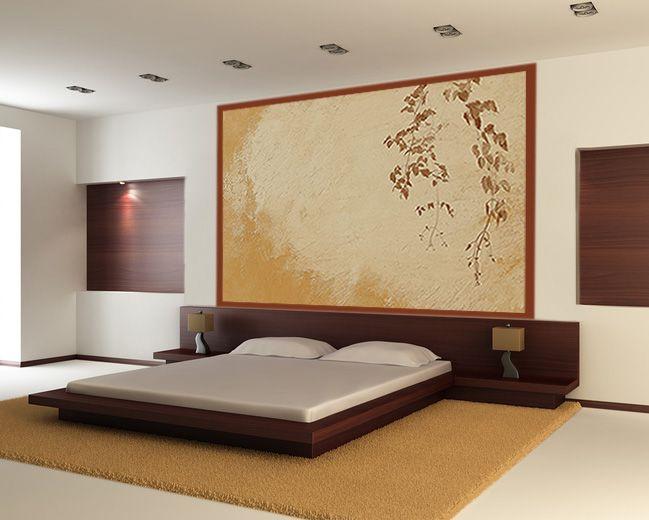 déco de chambre en couleurs beige avec décor mural design en tete ...