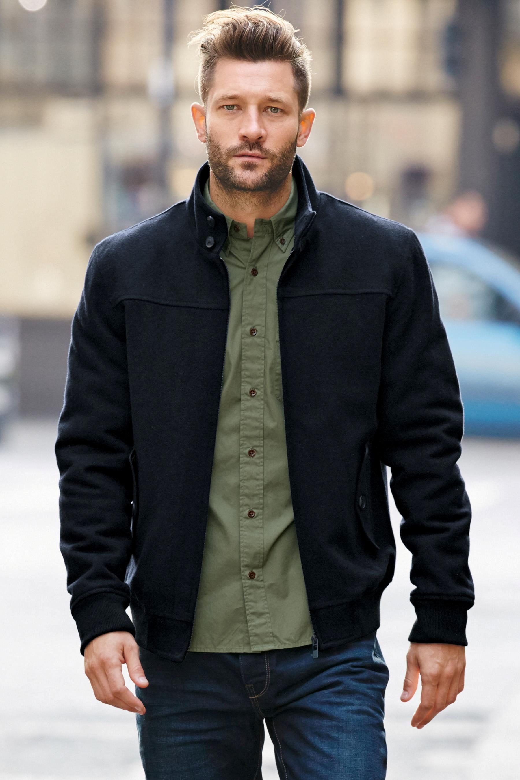 Buy Navy Wool Harrington Jacket online today at Next: Australia ...