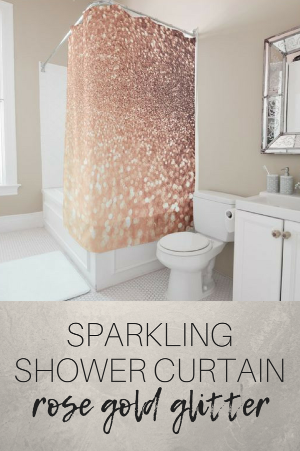 Sparkling Rose Gold Glitter Shower Curtain Bathroom Decor Home
