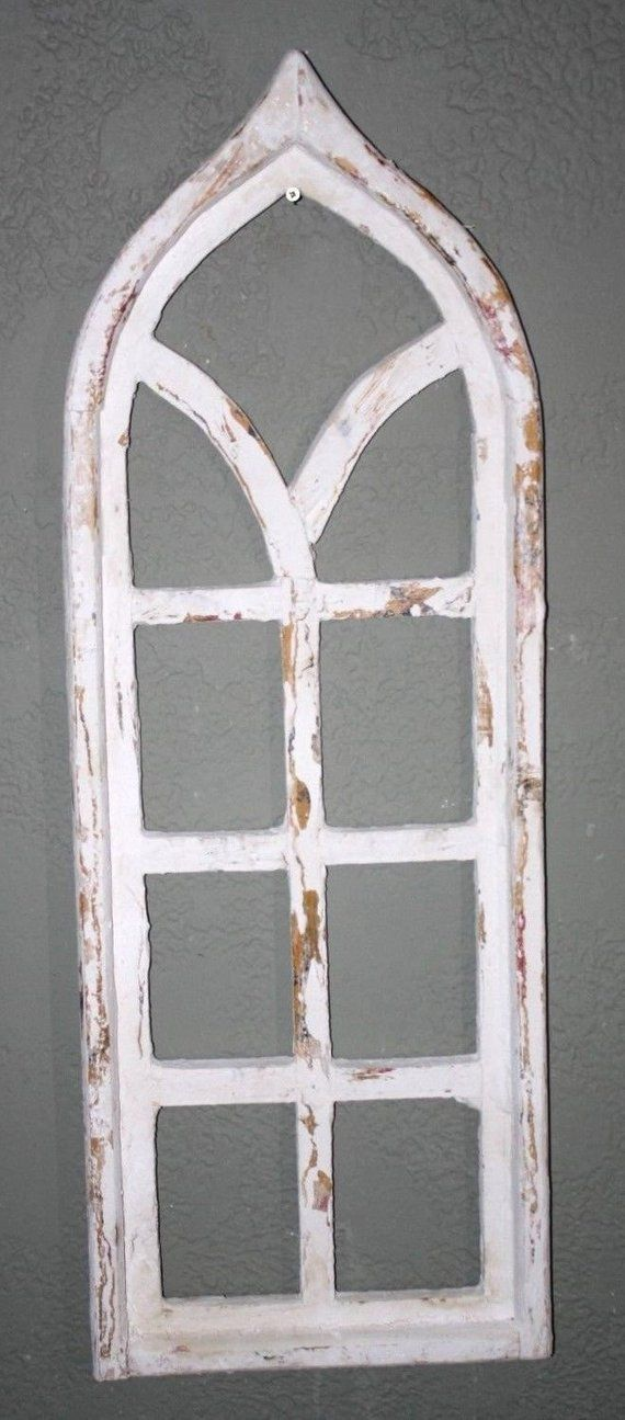 """Wooden Antique Style Church WINDOW Frame Primitive Wood Gothic 30 1//2/"""" Shabby"""
