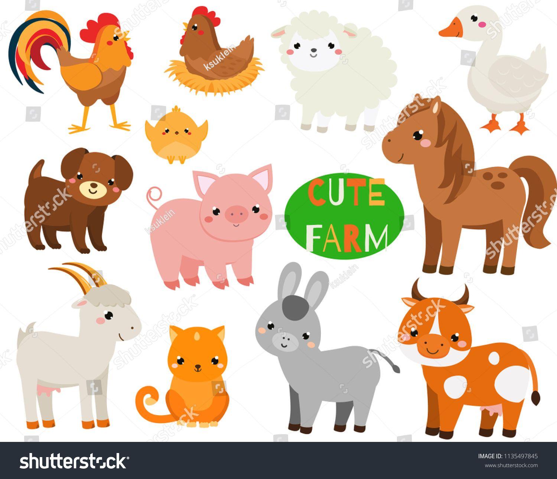 Cute cartoon farm animals set. Pig, sheep, horse and other