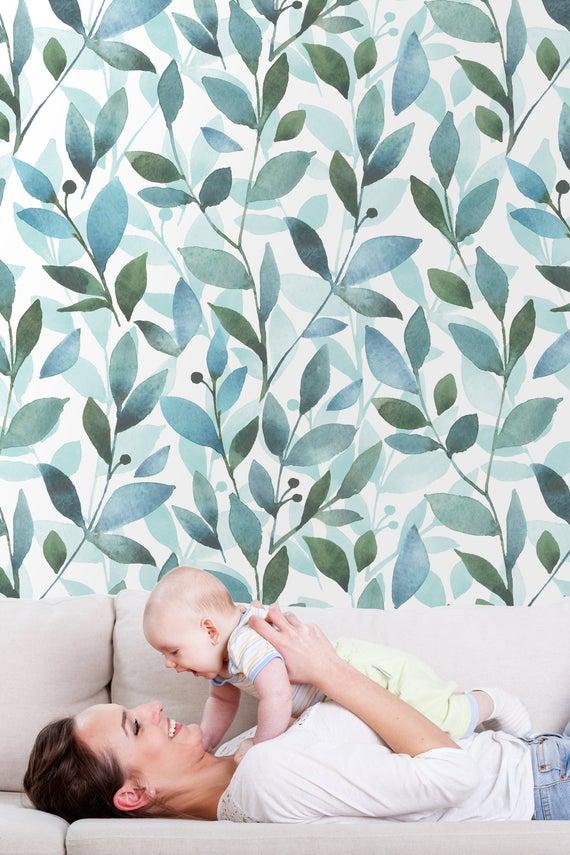 Watercolor Green Leaves Nursery Wallpaper Peel And Stick Wall Etsy In 2021 Nursery Wallpaper Kids Wallpaper Removable Wallpaper Nursery