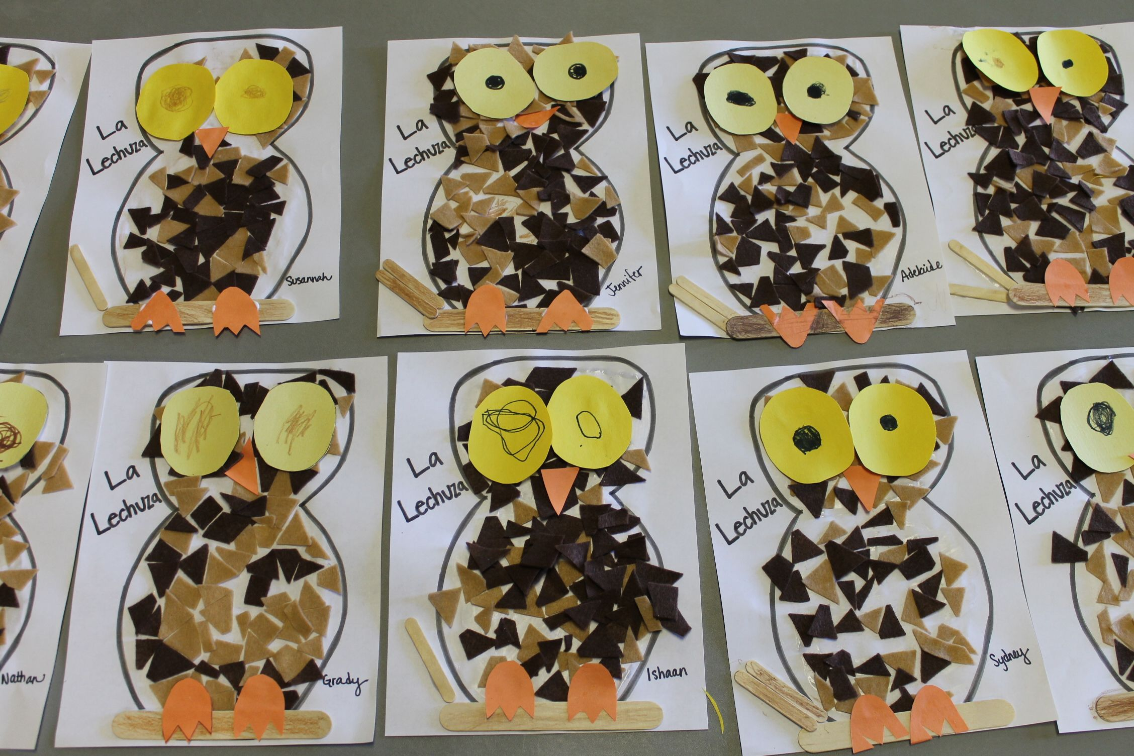 Owls Made From Hand Drawn Worksheet Pieces Of Felt