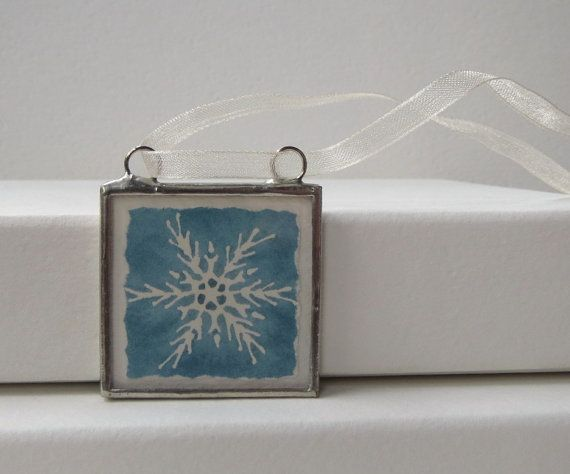 blue teal snowflake ornament  holiday decor  by ccwatercolor