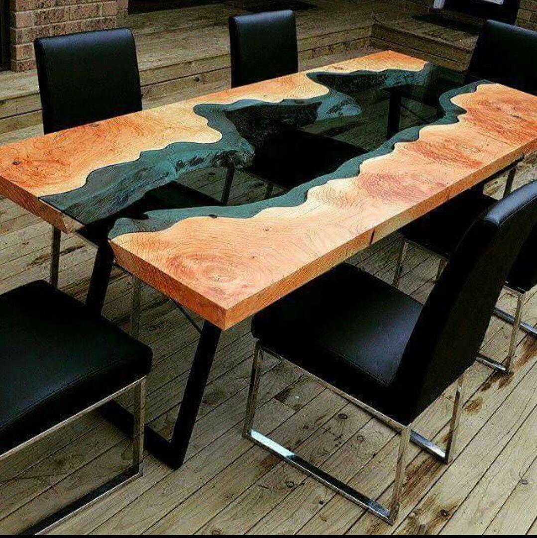 melange de bois et de verre table de