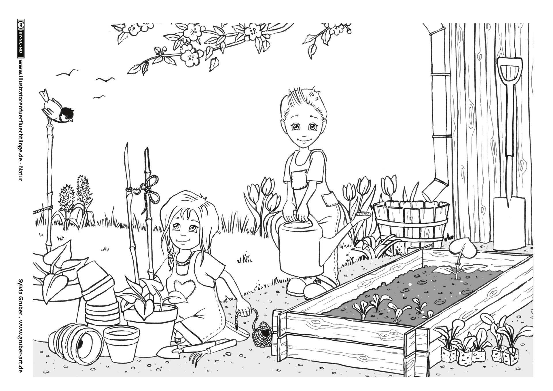 Garten Fruhling Kunstunterricht Kunstunterricht Grundschule Ausmalen