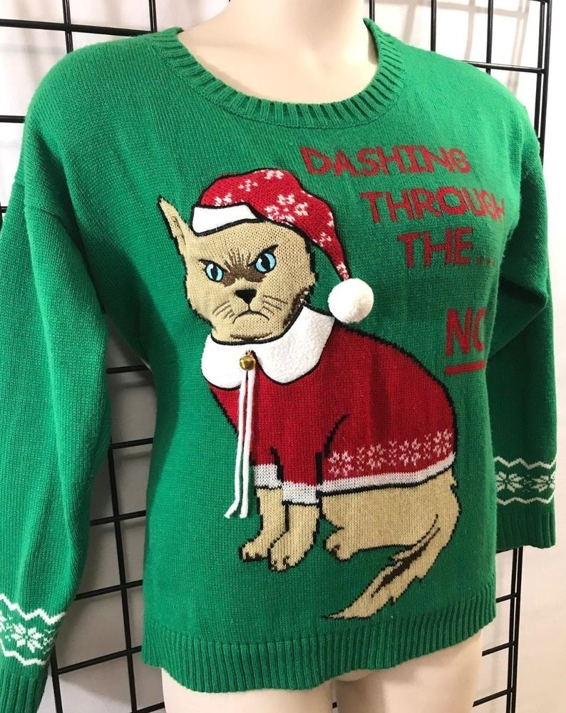 8223ccafa8 Ugly Christmas Sweater Size Large Women s Green Cat in Hat With Bell   fashion  clothing  shoes  accessories  womensclothing  sweaters (ebay link)