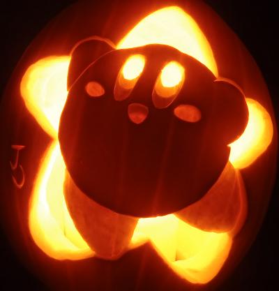 pumpkin template kirby  Kirby pumpkin! in 5 | Pumpkin carving, Pumpkin lights ...