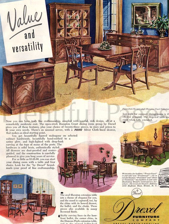 1949 Drexel Furniture Vintage Ad 1940u0027s By PlentifulPages On Etsy