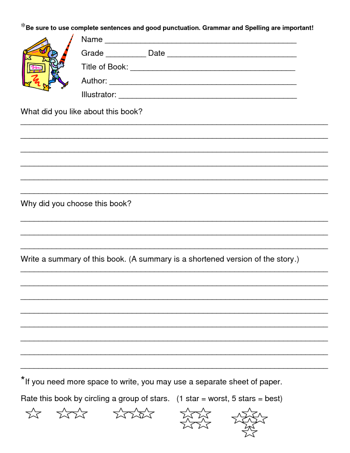 Book Review Worksheet Grade 5