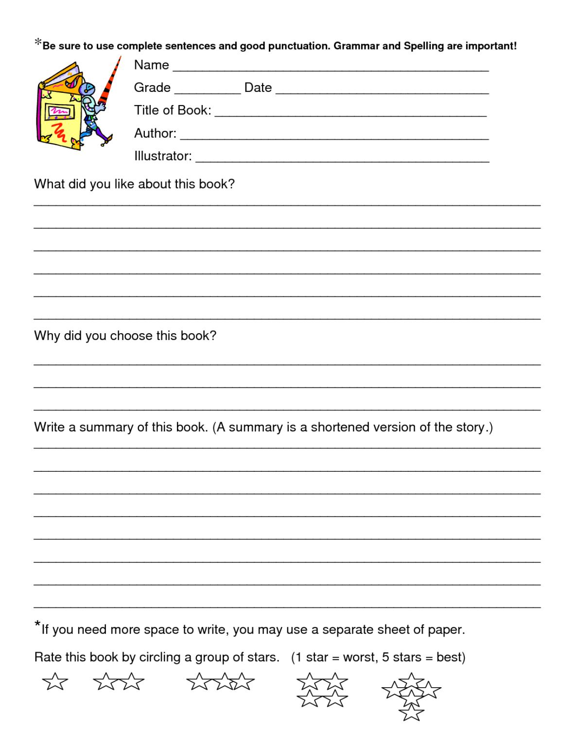 Book Review Worksheet Grade 5