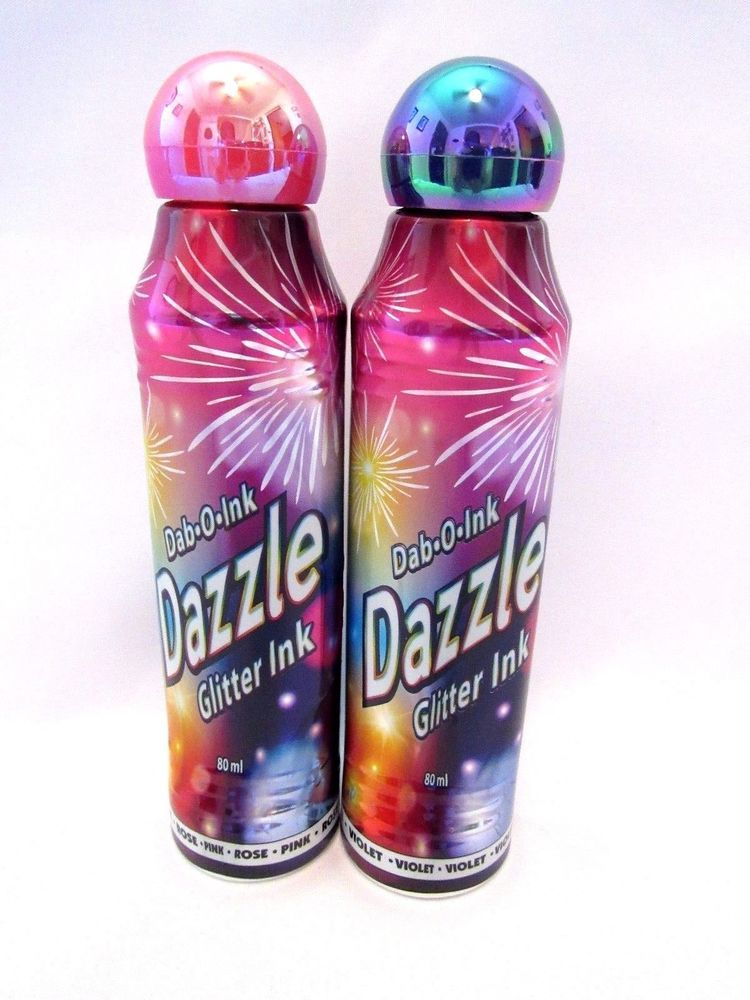 Dazzle Glitter Bingo Daubers Markers Set Of Two Rose And Violet 3 Oz