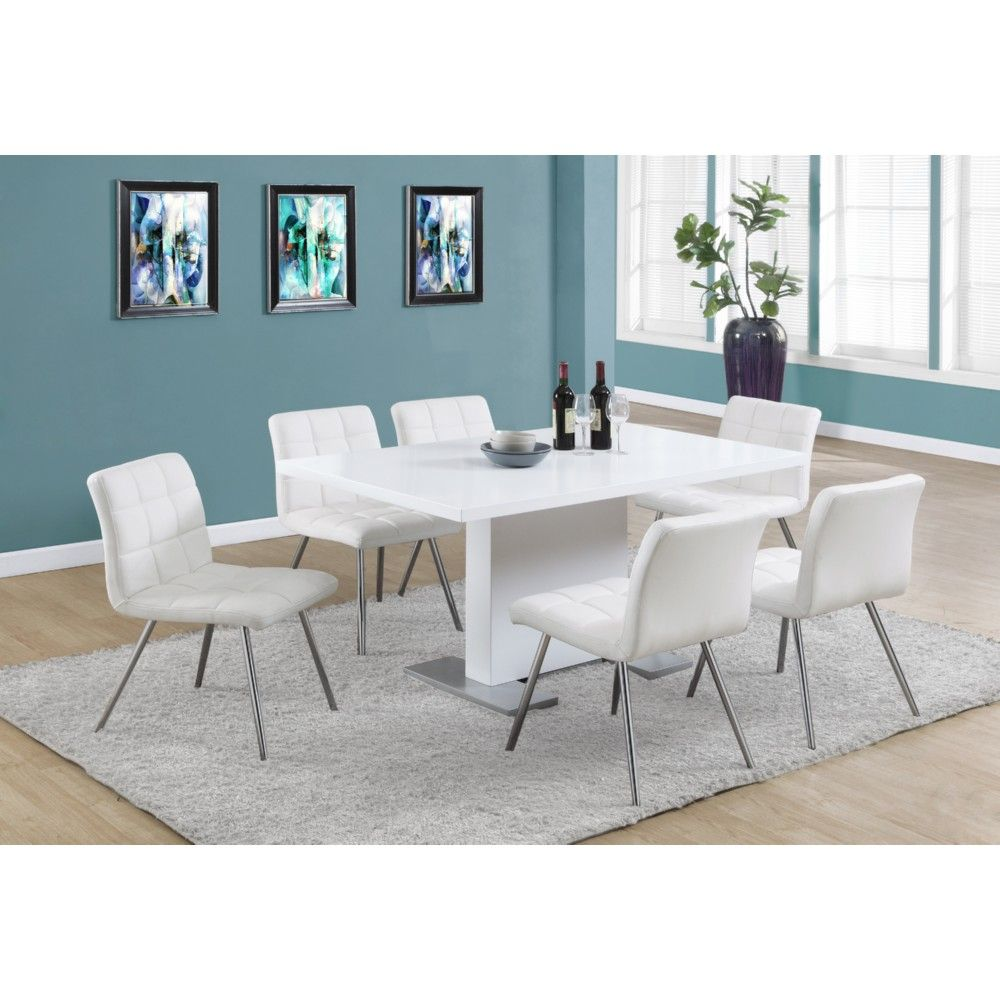Monrach High Gloss White 60 Inch Dining Table Stainless Steel Feet