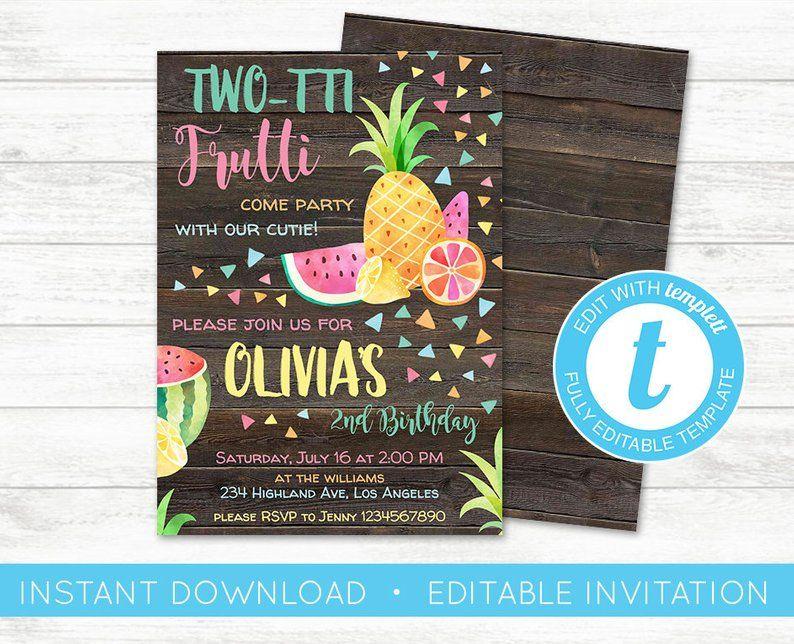 EDIT YOURSELF Twotti Frutti Birthday Invitation Tutti
