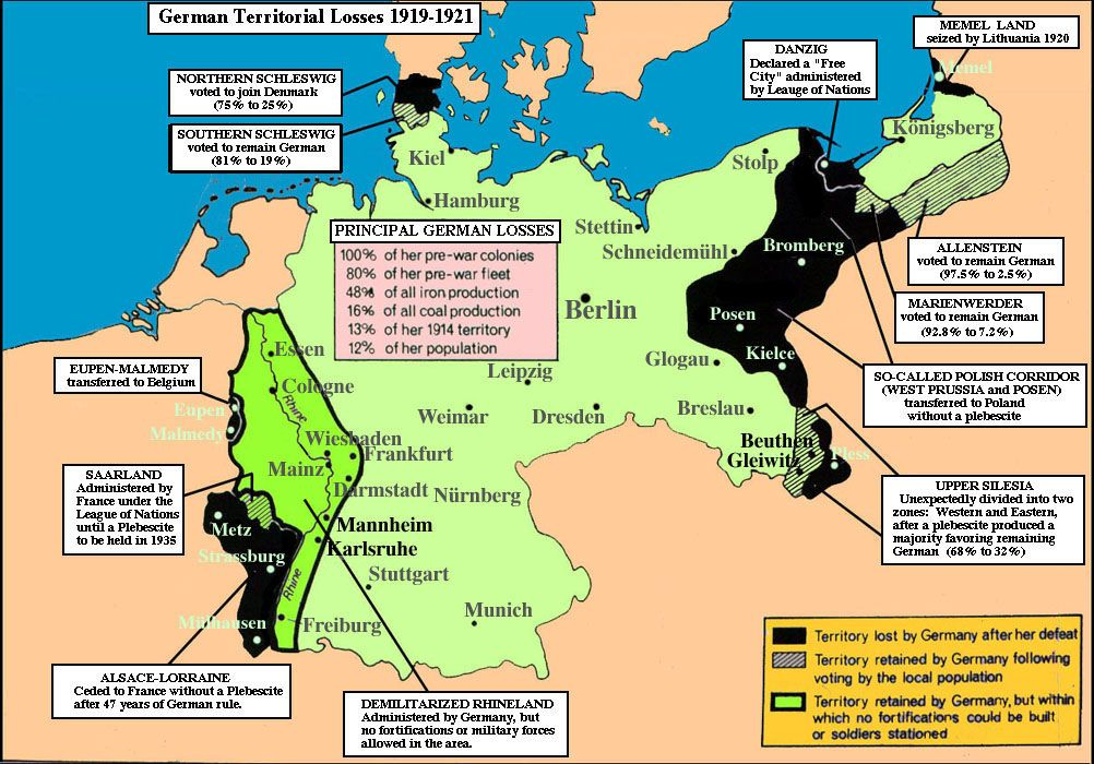 Wwi germany after versailles treaty 1919 map2 details though wwi germany after versailles treaty 1919 map2 details though germany did not start gumiabroncs Images