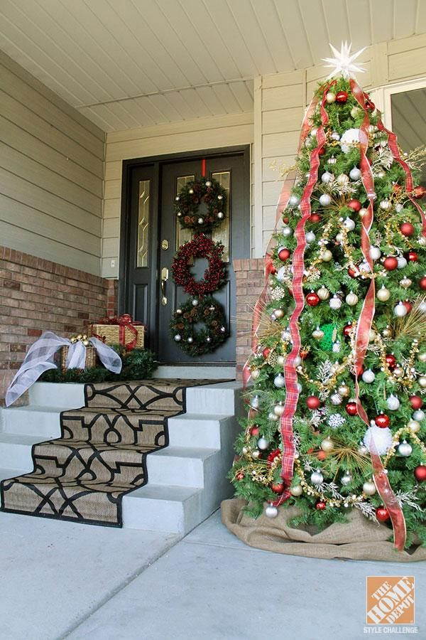 Christmas Decorating Ideas For The Front Door Inside Out Holidays Outdoor Christmas Tree Front Door Christmas Decorations Christmas Tree Decorations
