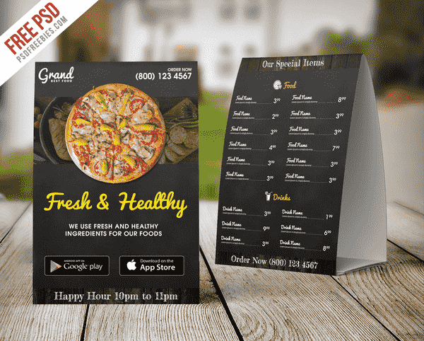 Restaurant Food Menu Table Tent Template Free Psd  Food Menu Templates Free