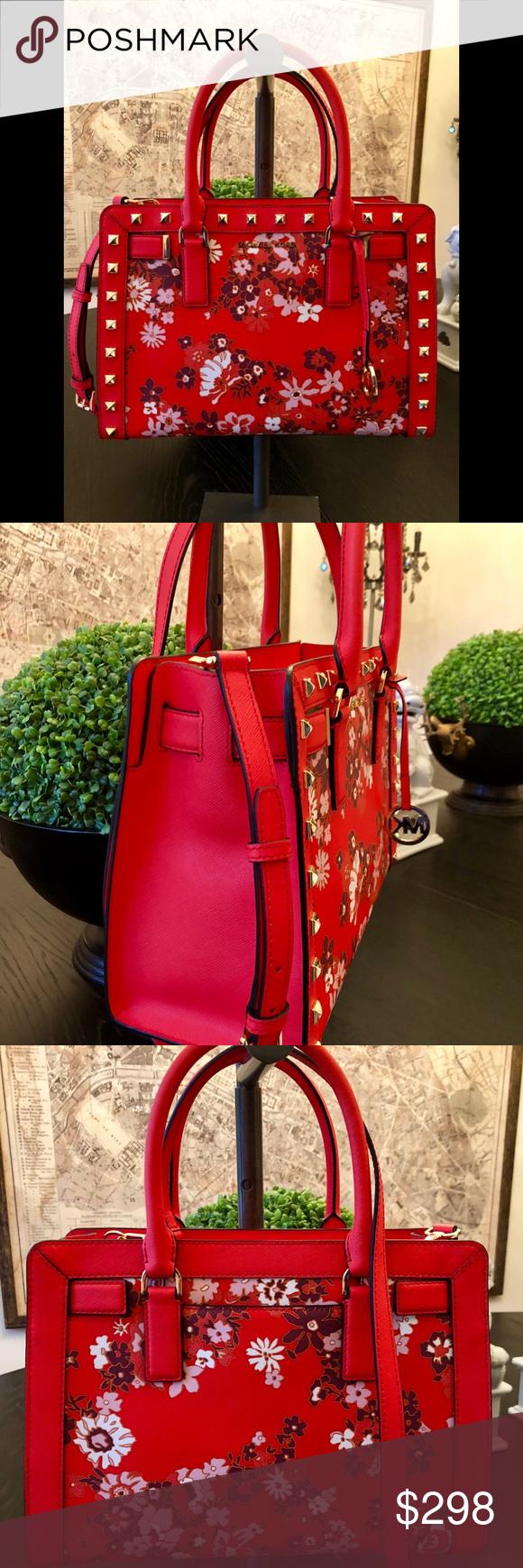a4c16bbd8195 Spotted while shopping on Poshmark  Michael Kors Dillon Sangria Medium  Studded Satchel!  poshmark  fashion  shopping  style  Michael Kors  Handbags