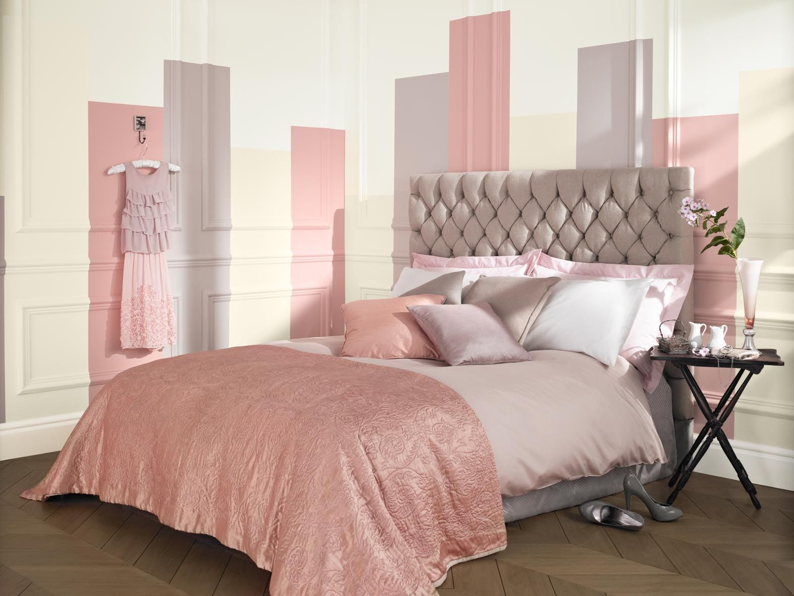 Feminine Pink Natural Bedroom Painted With Crown Matt Emulsion In Honey Fever Pale Hare Taupe And Snowdrop Cream