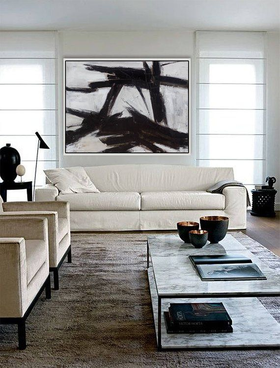 Large Horizontal Painting Canvas Art Black White Oil Wall Wh