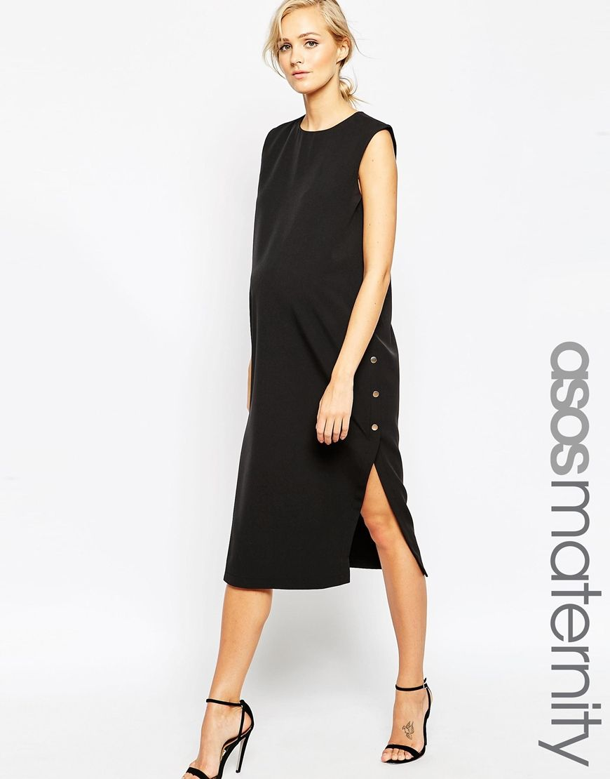 Uber chiclbd that accommodates the bump for dinner out or the office shop asos maternity column dress with popper sides at asos ombrellifo Choice Image