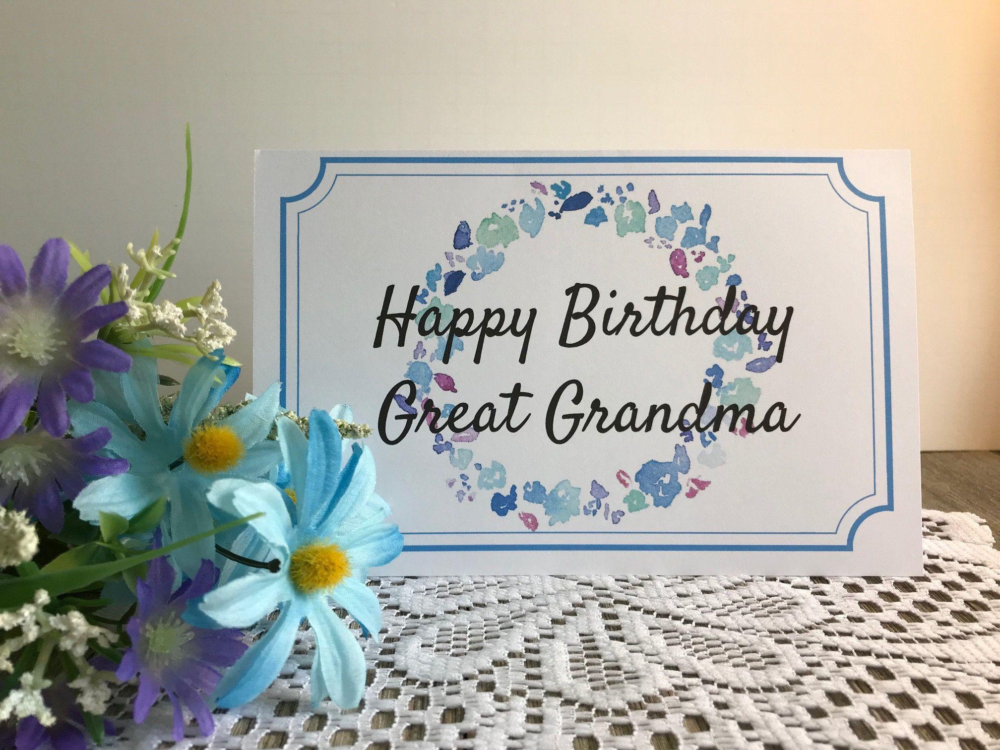 Printable Birthday Card For Great Grandma Greeting Card For Great Grandmother Grandma Mom Mom Grammy Granny Birthday Card Printable Birthday Poster Diy Happy Birthday Grandma