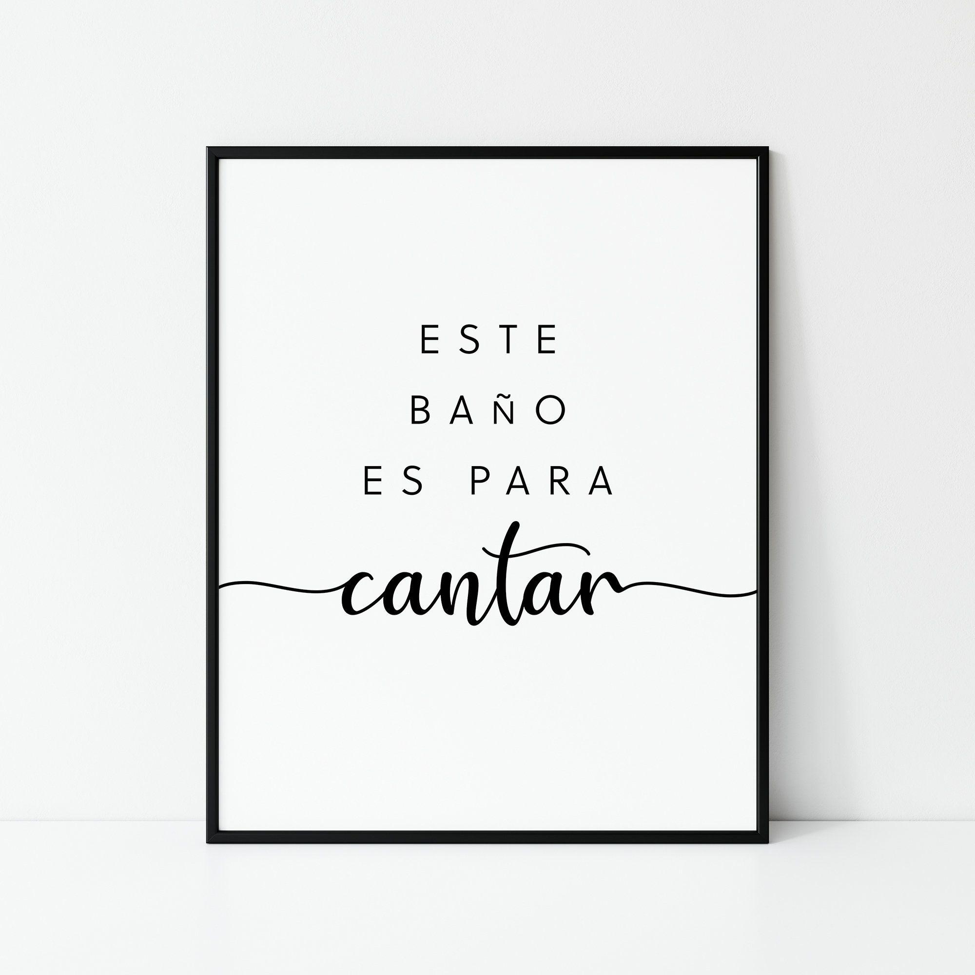 Este Bano Es Para Cantar, This Bathroom Is For Singing Spanish Print, Spanish Bathroom Print, Spanish Print, Bathroom Quote, Digital Print
